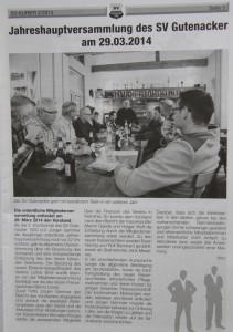 Jahreshauptversammlung SVG - aus dem SV-Kurier 02/2014