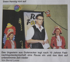 Swen Hannig hört auf  - VG-Infoblatt 13.03.2014 - I